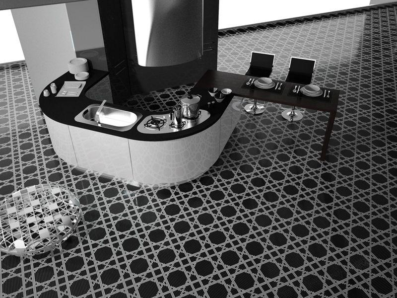 Bisazza Mosaics- Black, white kitchen floors