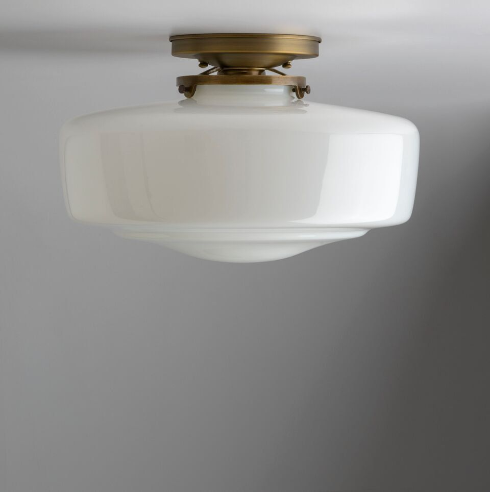 Large White Milk Glass Schoolhouse Style Glass Shade Flush Etsy White Milk Glass Milk Glass Glass Shades