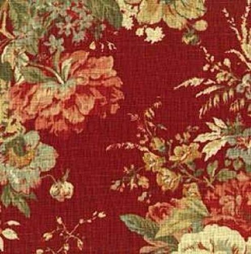 Details About Waverly Fortuna Vintage Collection Rose Bouquet On Beige Cotton Fabric Red Blue