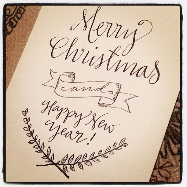 Merry Christmas Writing Ideas.Merry Christmas And Happy New Year 4x6 Print By Paperglaze