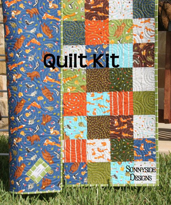 Forest Friends Quilt Kit, Moda Fabrics, Blue Green Orange Brown ... : baby boy quilt fabric - Adamdwight.com