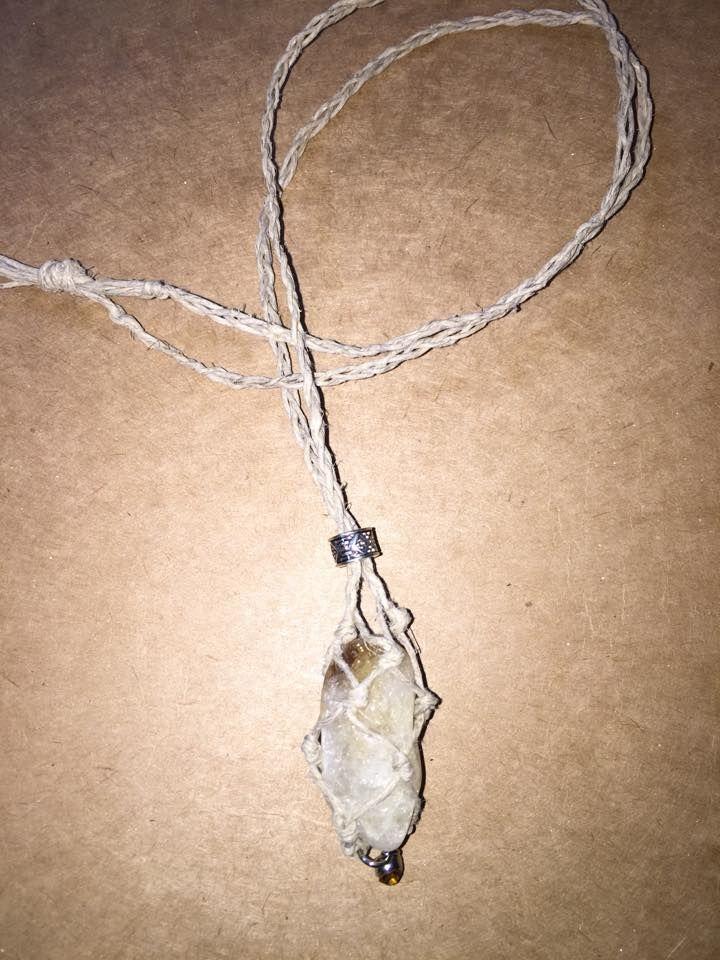Citrine Hemp-Wrapped Necklace