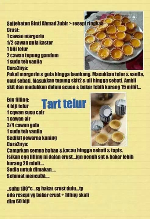 Tart Telur Durian Recipe Egg Tart Cake Recipes