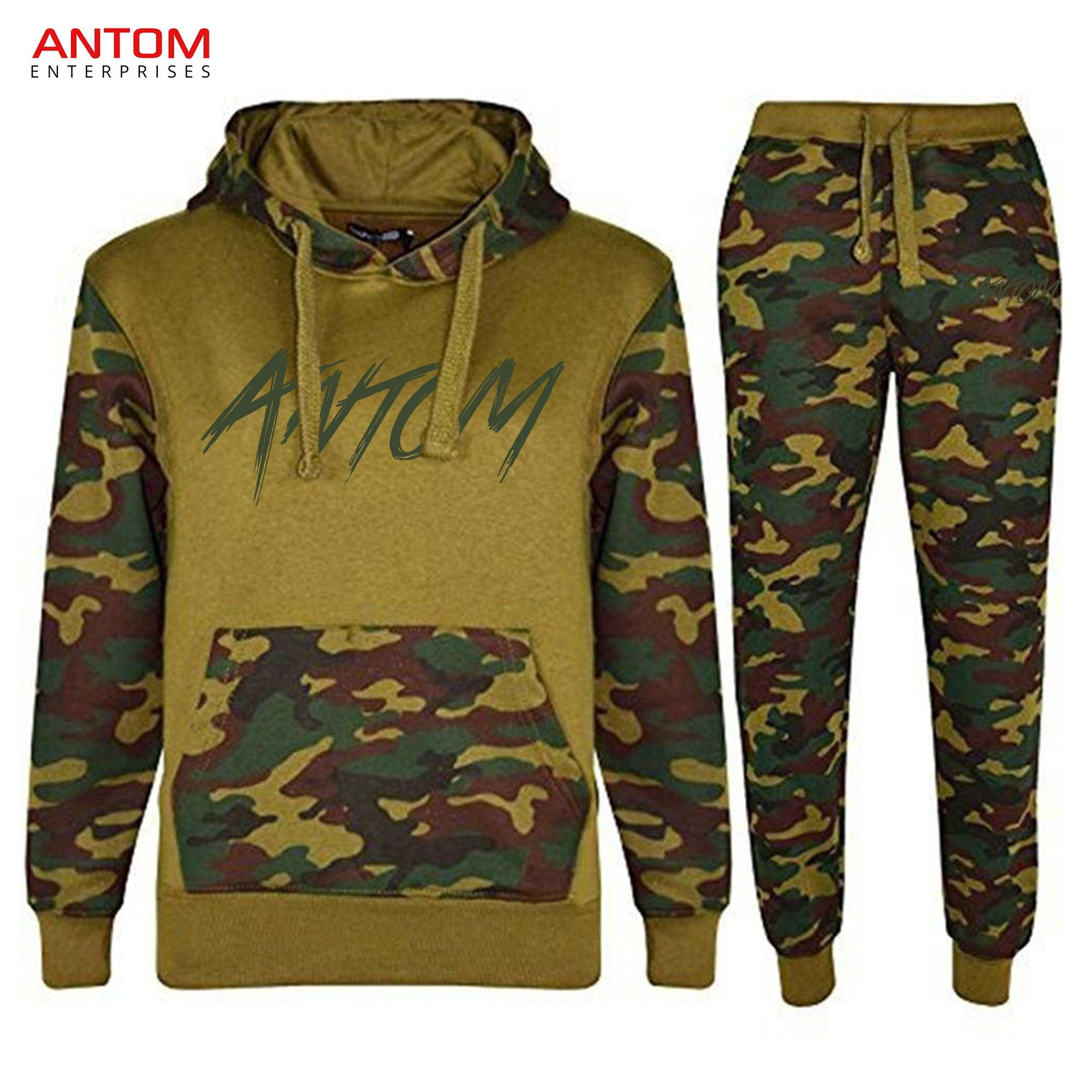Kids Army Print Pullover Jogging Jogger Two Piece Tracksuit Set