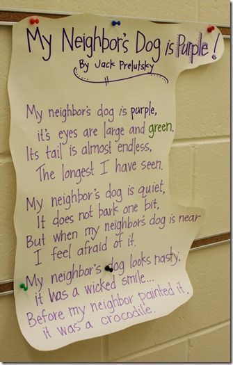 good poem to use visualization students draw what they are visualizing lesson using a poem entitled my neighbor s dog is purple by jack prelutsky
