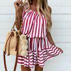 Women Striped Lace Up Mini Dress Ladies Summer Beach Loose Ruffle Short Sundress #Dress #Fashion #Woman #shortsundress