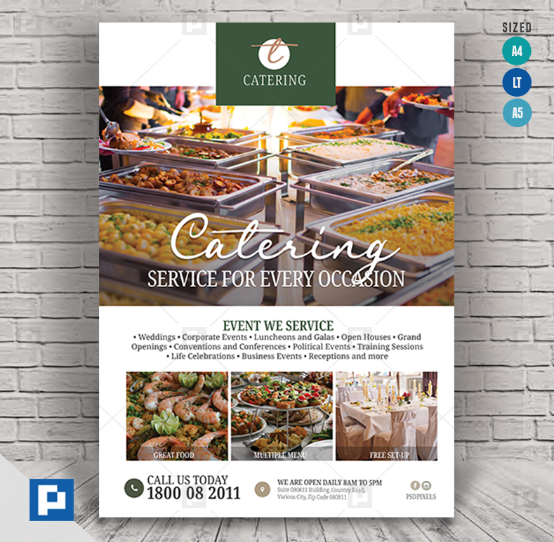 Event Catering Service Flyer - PSDPixel #cateringservices Event Catering Service Flyer