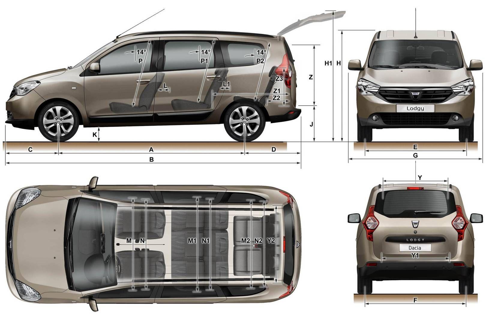 Les Dimensions du Dacia Lodgy  Dacia Lodgy  Mini camper