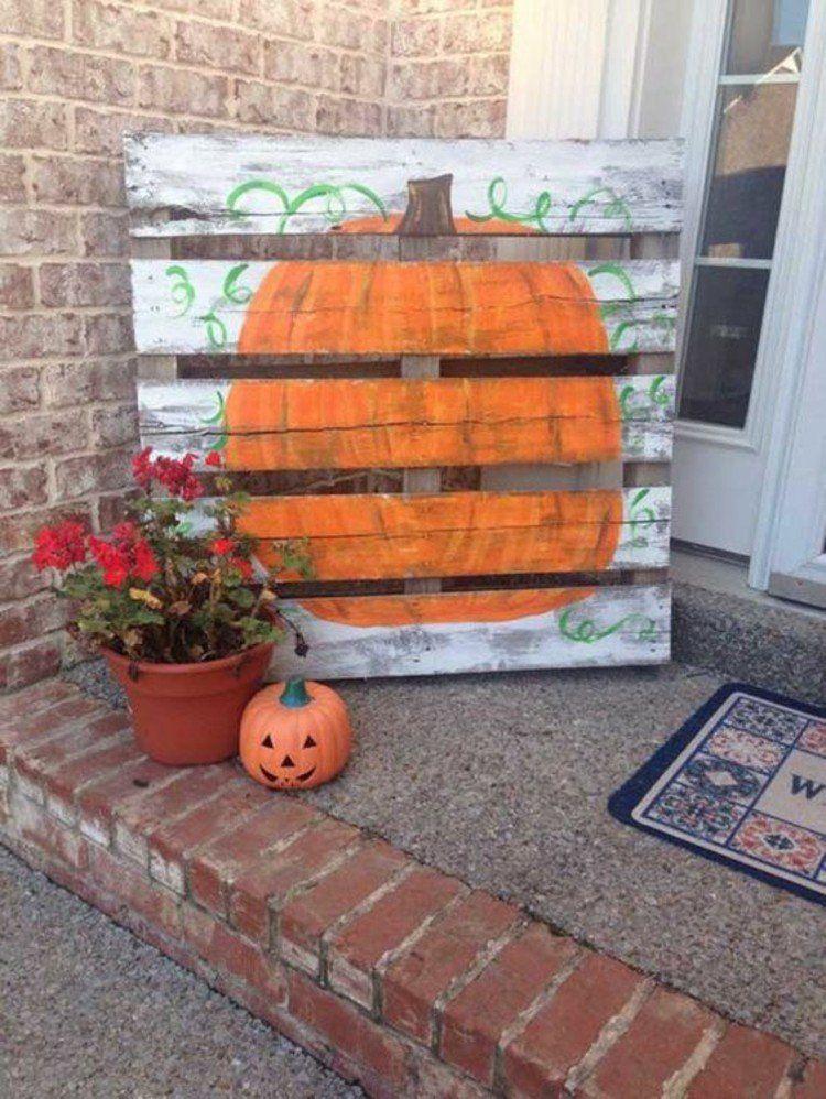 Paletten kaufen und herbstdeko daraus schaffen deko ideen country life - Herbstdeko kurbis ...
