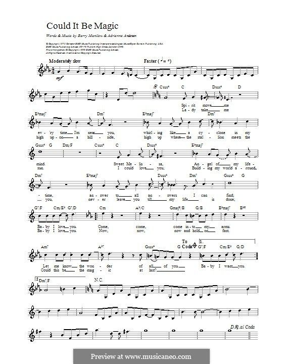 Could It Be Magic Melody Line Lyrics And Chords By Adrienne