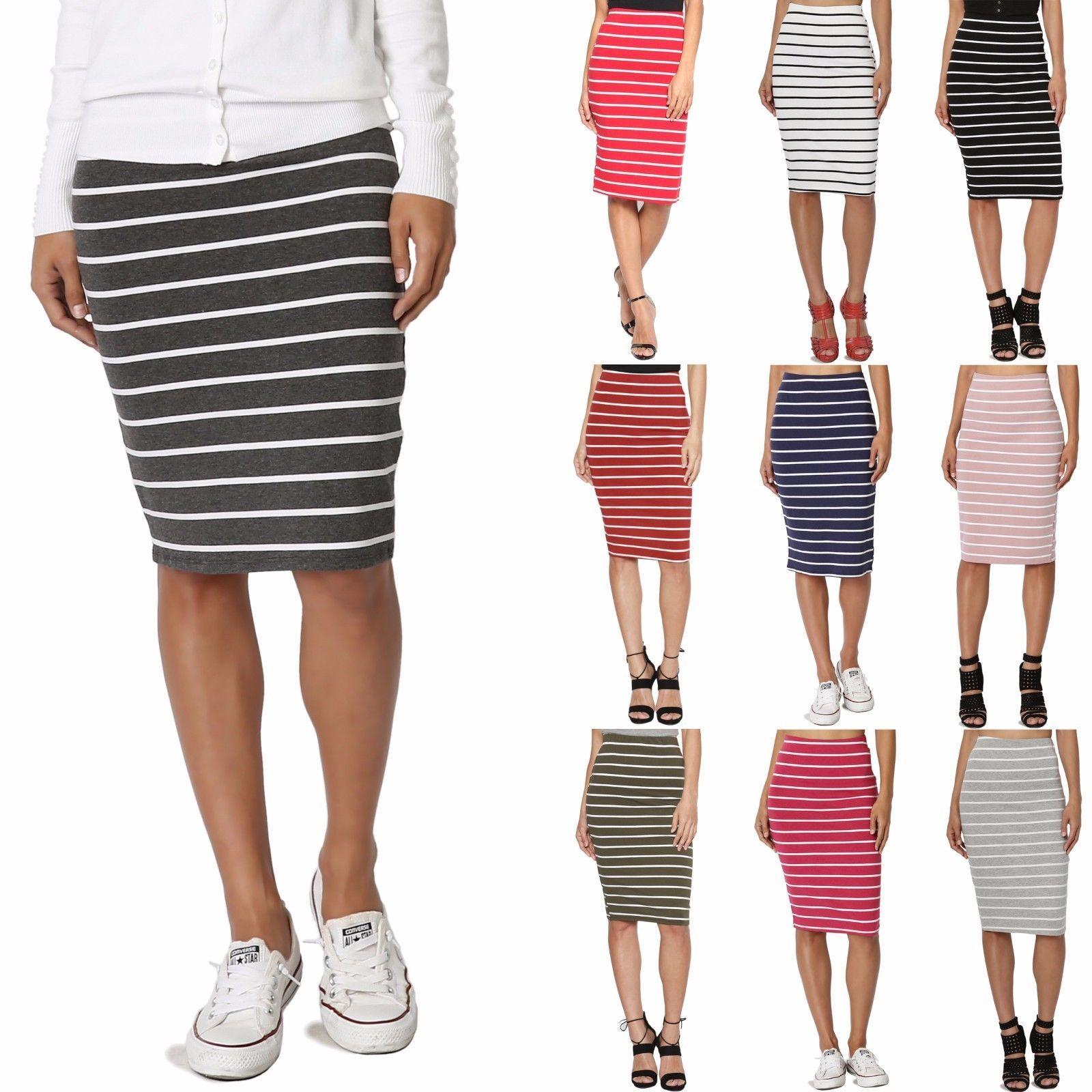 39a1ff3e95d41 Themogan Women s Striped Stretch Cotton Elastic Waist Knee Length Pencil  Skirt