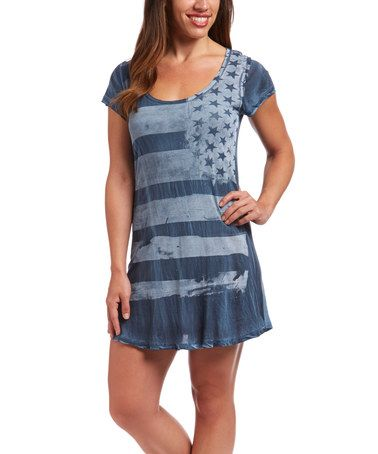 Loving this Blue Distressed Flag Scoop Neck T-Shirt Dress - Women on #zulily! #zulilyfinds