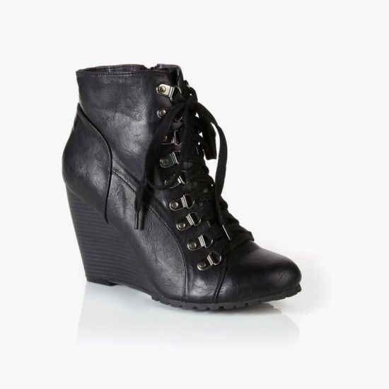 wedge lace up leather boots