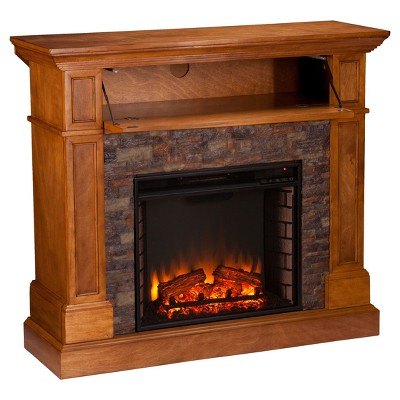 Roseshire Stone Look Convertible Electric Media Fireplace Sienna