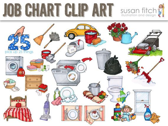 Job Chart Chore Chart Clip Art by SusanFitchDesign on Etsy ...
