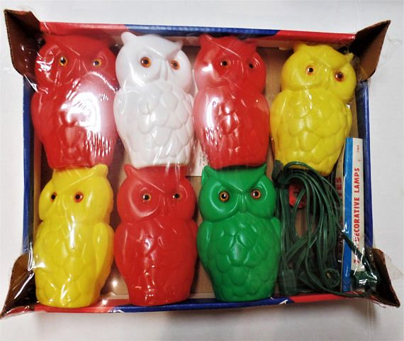 Vintage Owl Patio Lights New In Box Set Of 7 Blow Mold Owls