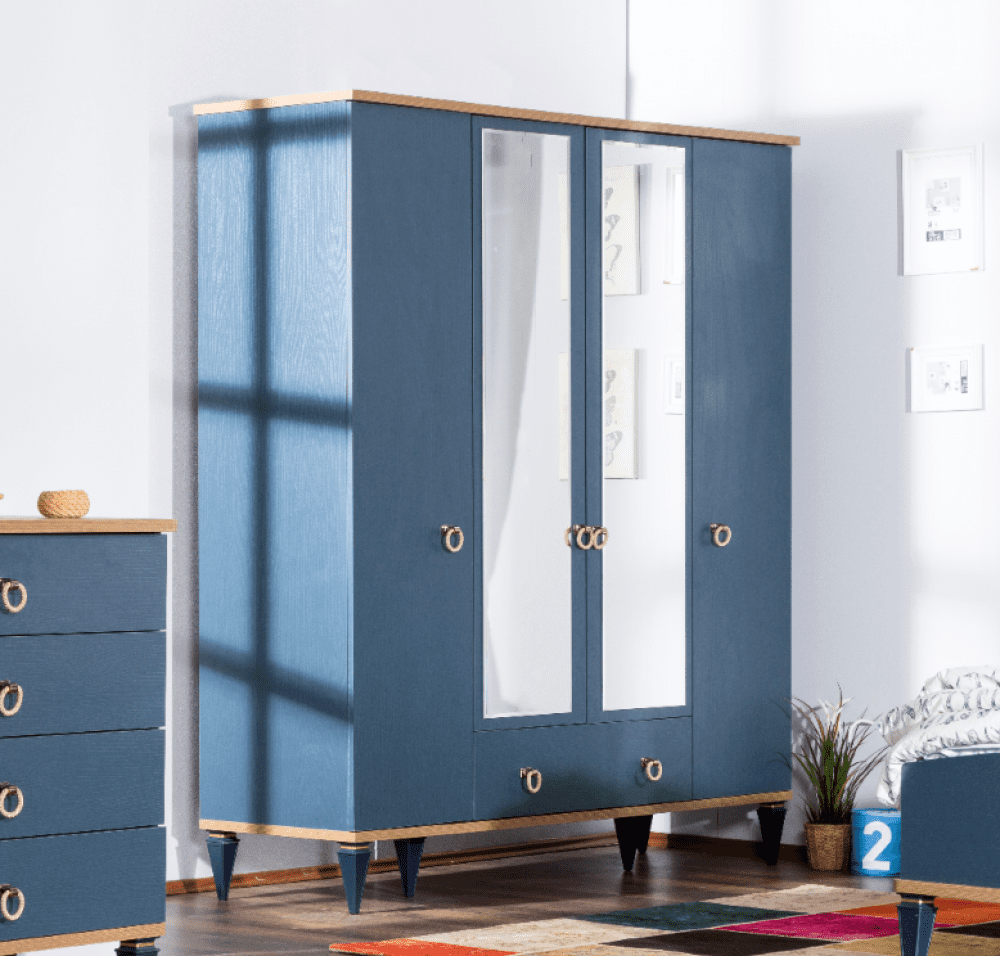دولاب غرفة اطفال مودرن دولاب بلو 4 أبواب Tall Cabinet Storage Locker Storage Home Decor