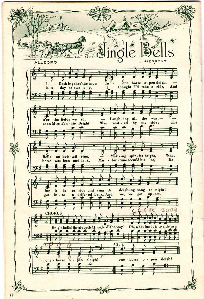 Jingle Bells Christmas sheet music, Music crafts