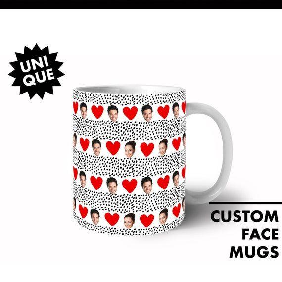 Couple Love Heart Mug, Custom Face Mug, Personalized Coffee Mugs, Funny Face Customized Photo Mug, G