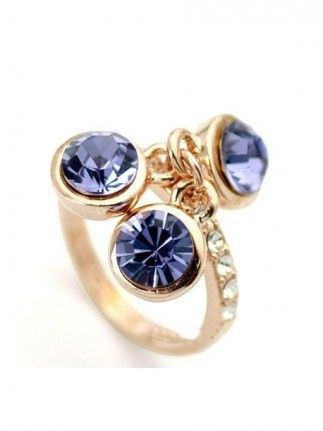 Unique Purple Alloy with Rhinestone Ring