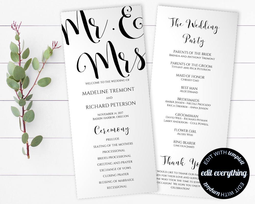 mr and mrs wedding program template tea length program template