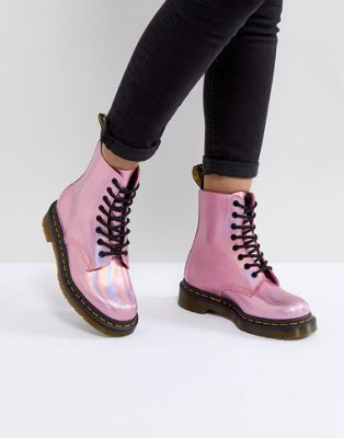 Dr Martens Leather Holographic Pink Lace Up Boots in 2019  0aa85769306b