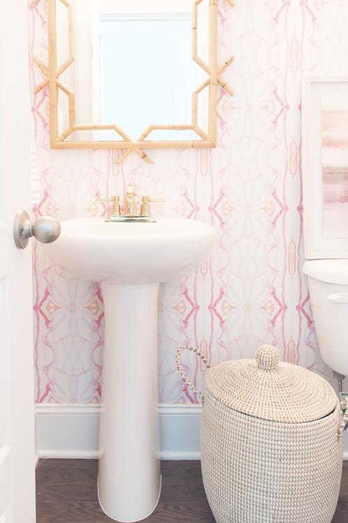 Pampa Pink Wallpaper By Jennifer Latimer Rattan Mirror Bathroom Powder Room Ideas Half Remodel