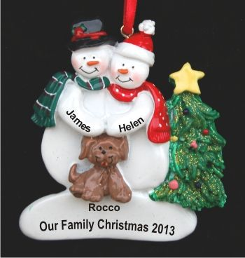 Snow Couple with Tan Puppy Dog Christmas Ornament | Christmas ...