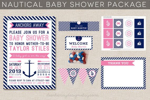 Nautical Baby Shower Printable Party Package by DearHenryDesign, $35.00