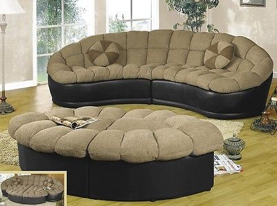 Papasan Two-piece Beige Chenille/Black Leather Sectional with Ottoman Sofa Set : black leather sectional with ottoman - Sectionals, Sofas & Couches