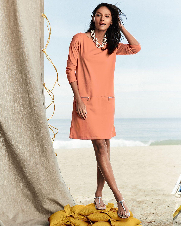 712762487 Joan Vass Knit Zip-Pocket Shift Dress in 2019 | Trendy Pastels ...
