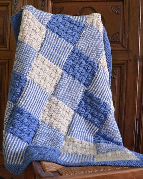 Free Knitting Pattern for Patchwork Baby Blanket ...