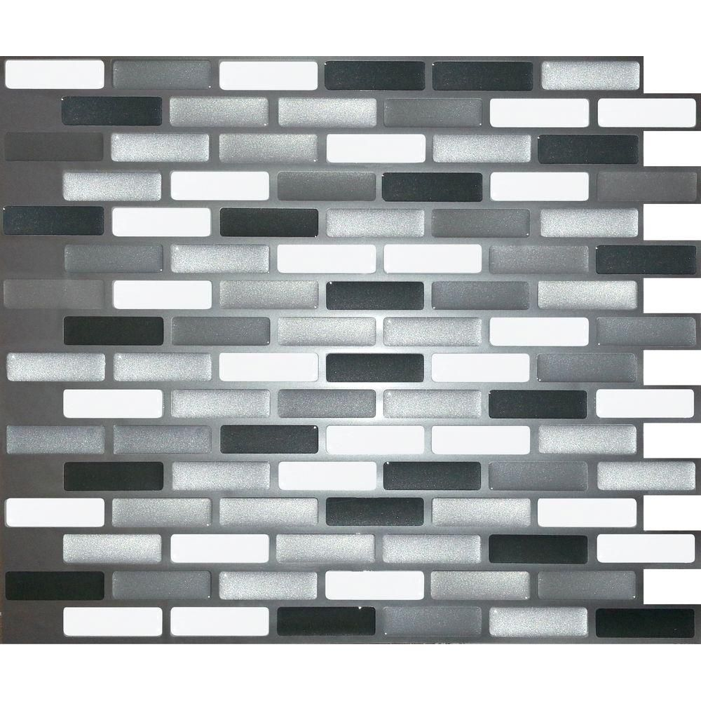 Stick It Tiles 11 In X 9 25 Black Grey Silver Oblong Adhesive Decorative Wall Tile 8 Pack 27086 At The Home Depot