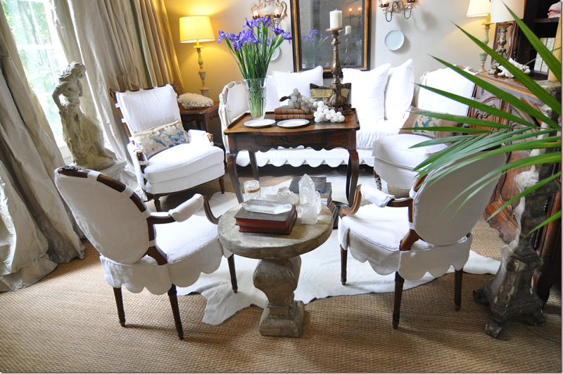 Round Back Chair Slipcovers With Scallop Seat Covers