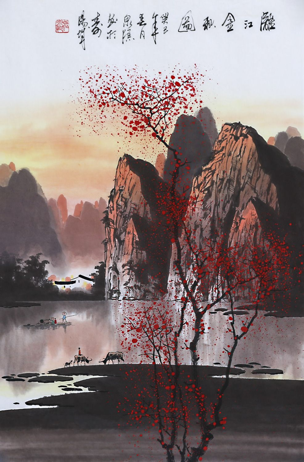 artist zhangquanzong oriental asian landscape painting living room