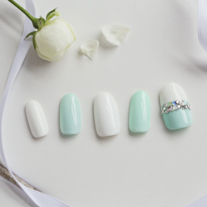 mint and white nail art