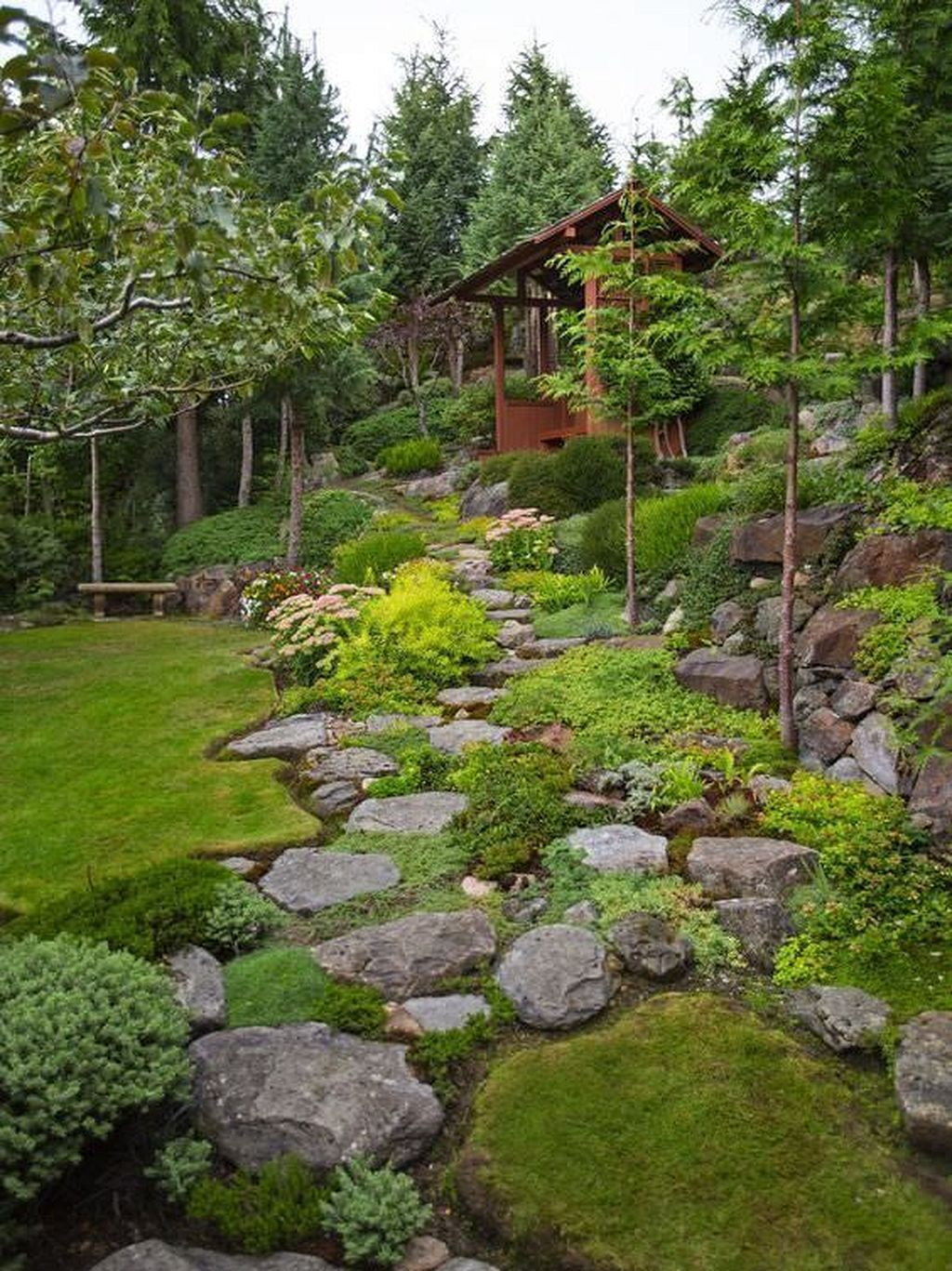 rock garden design ideas vary in sizes, types of green and flowering