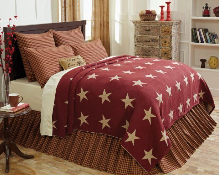 Burgundy Star Queen Or King Coverlet Primitive Country