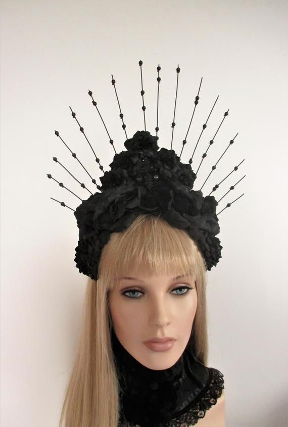 3ca934302 Headdress unique Halo headband Gothic black roses Headpiece ...