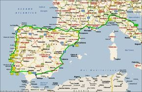 Cartina Italia Spagna.Mappa Del Viaggio In Camper In Portogallo Viaggio In Camper Viaggio In Portogallo Turismo