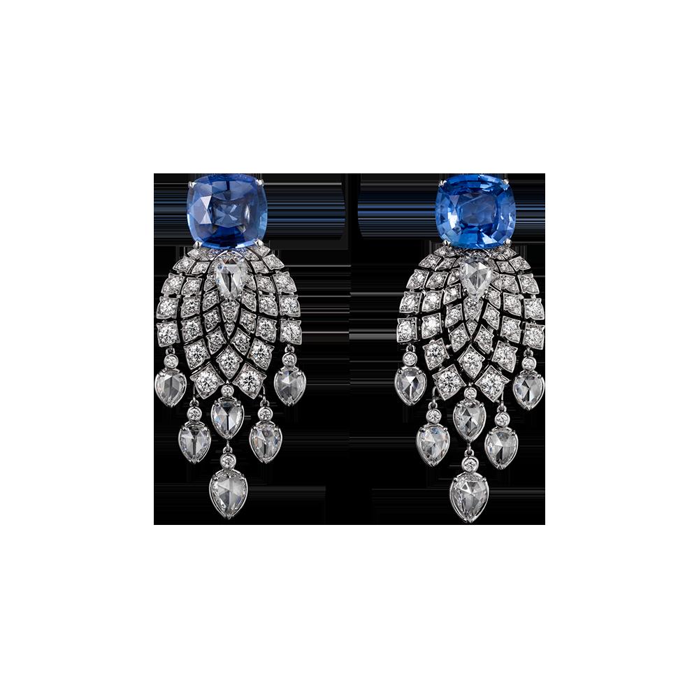 Cartier. Pendientes en platino, dos zafiros cojín de Madagascar de 5,06 y 6,70 quilates, diamantes pera talla rosa y diamantes talla brillante