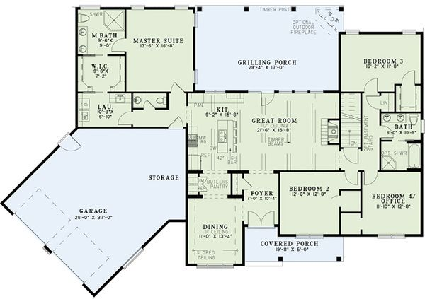 Country Style House Plan 3 Beds 2 5 Baths 2279 Sq Ft Plan 17 2555 Floor Plan Main Floor Plan Houseplans Com New House Plans Floor Plans House Plans
