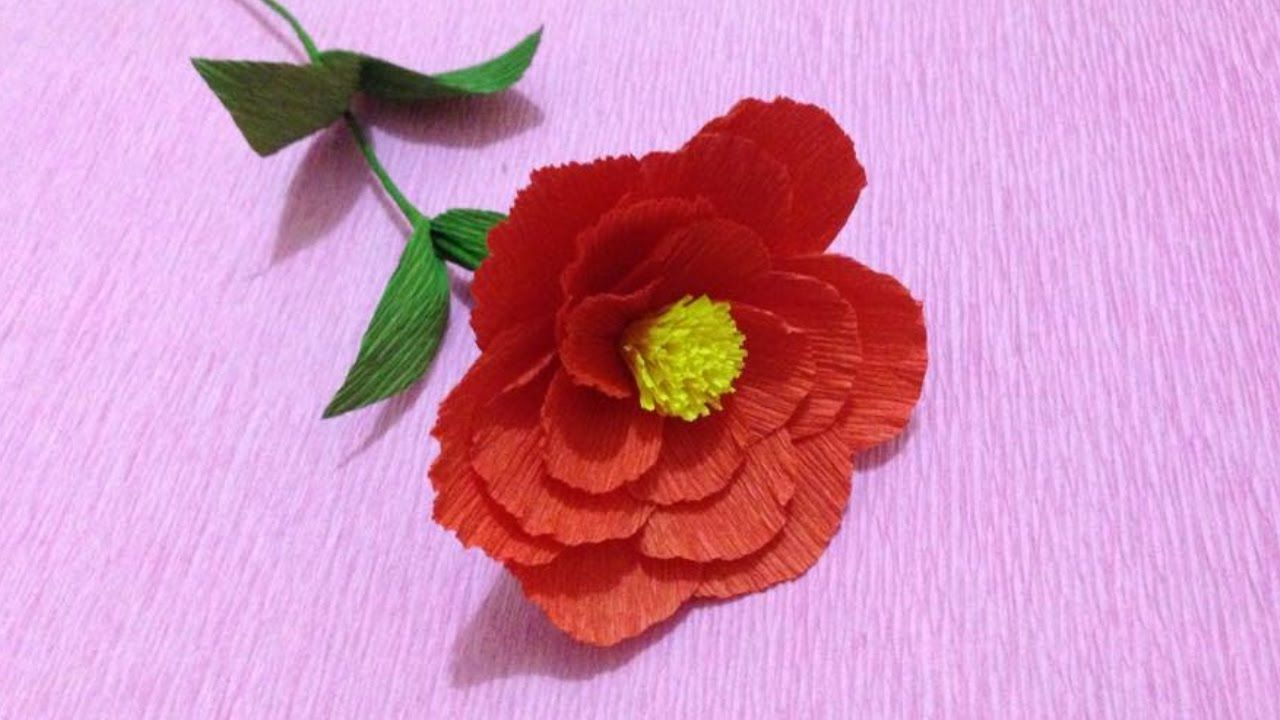 How To Make Camellia Crepe Paper Flowers Flower Making Of Crepe