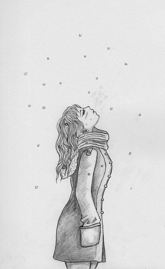 Anime Girl Drawing Christmas Snow   Artsie   Pinterest   Anime Drawings And Girl Illustrations