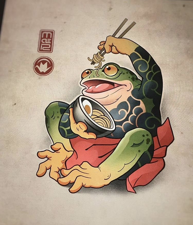 Japanese frog with ramen