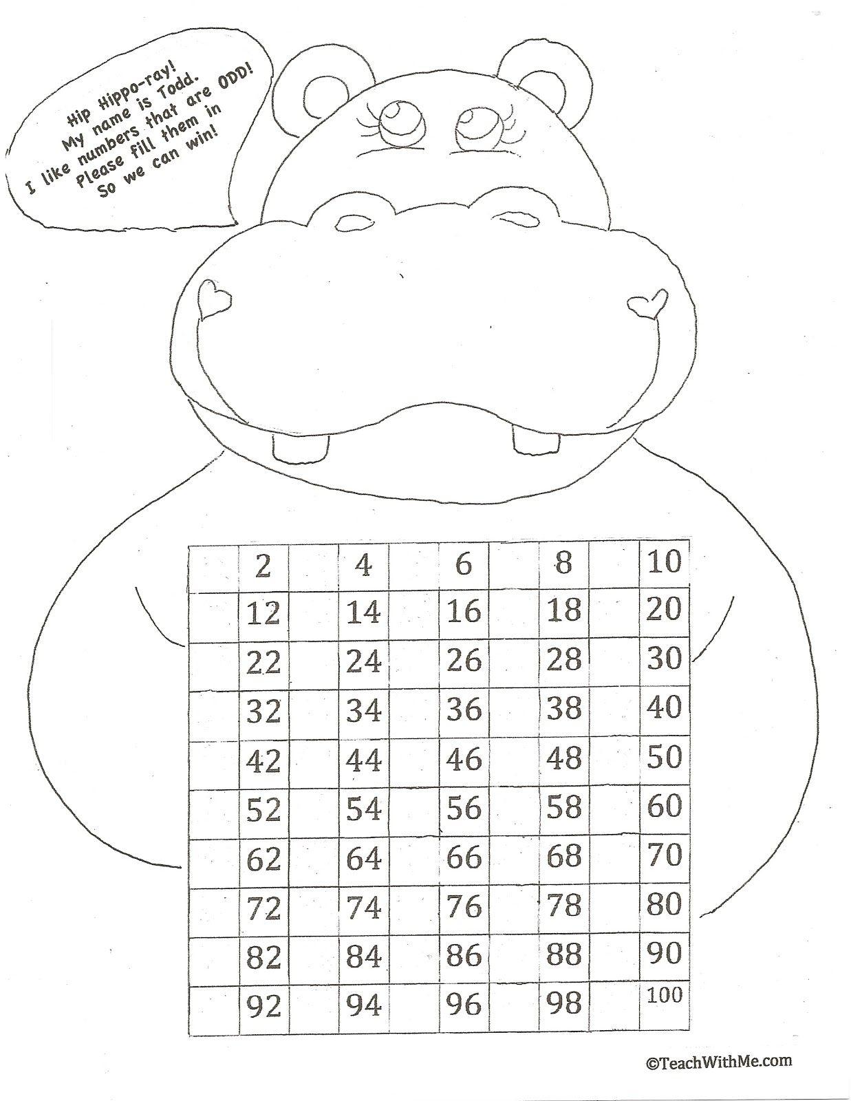 Hip Hippo Ray 100 Day Activities