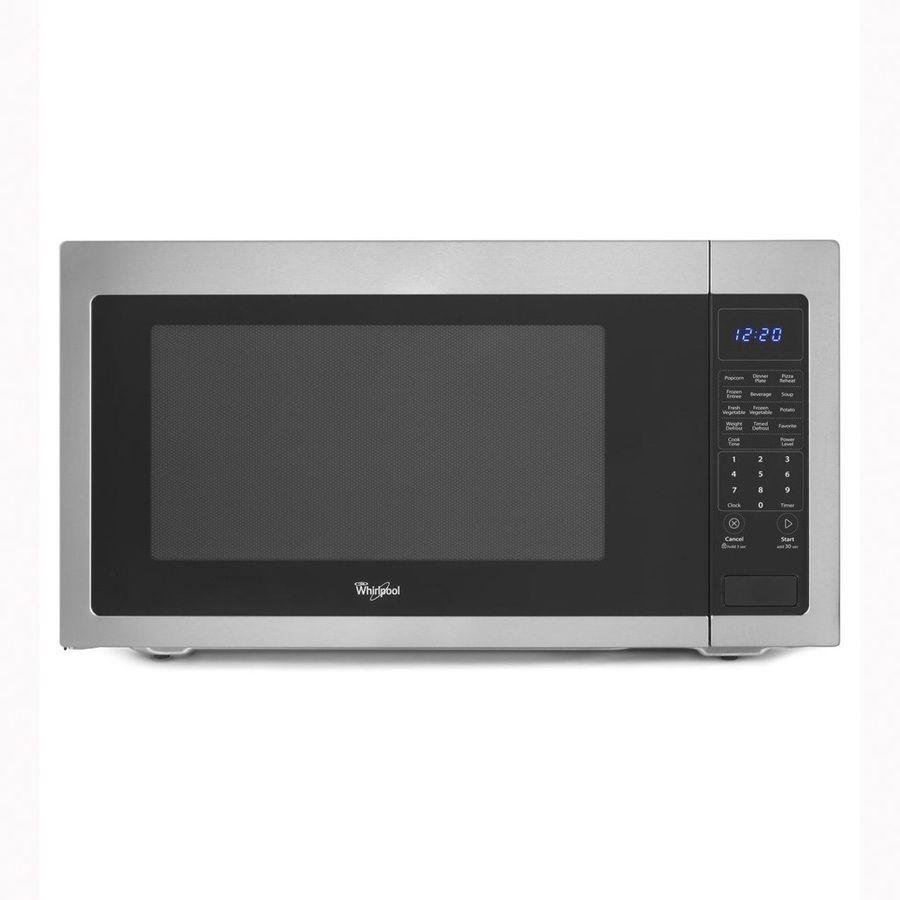 Whirlpool 2 Cu Ft 1 200 Watt Countertop Microwave Black On Stainless Wmc50522as