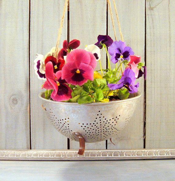 Repurposed Colander Flower Pot Rustic Hanging Flower Pot Vintage Strainer Rustic Country Home Decor Garden Decor Flower Pot Rustic Hanging Flower Pots Flower Pots