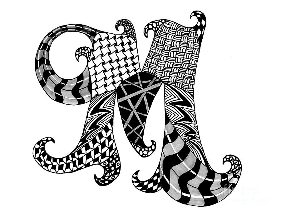 Zentangle Letter M Monogram In Black And White Drawing Zentangle