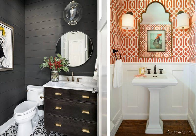 50 Powder Room Ideas That Transform Your Small Half Bath From Ordinary To Extraordinary Https In 2020 Powder Room Small Powder Room Ideas Half Baths Small Half Baths
